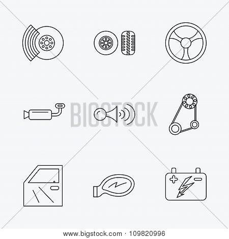 Accumulator, brakes and steering wheel icons.