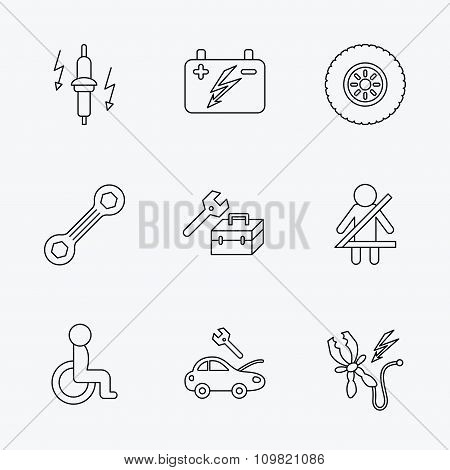 Accumulator, spanner tool and car service icons.