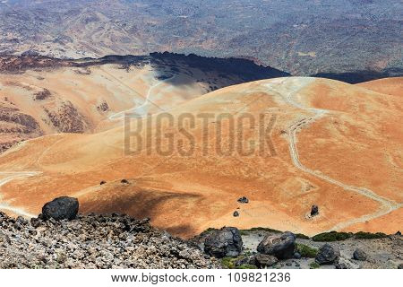Volcanic Bombs On Montana Blanca, Teide National Park, Tenerife, Canary Islands, Spain, Shalow Dof