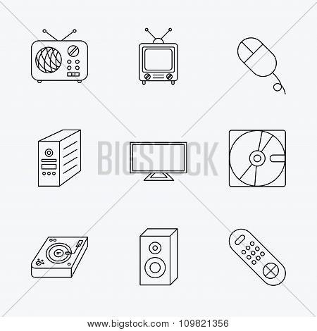 Sound, club music and retro radio icons.