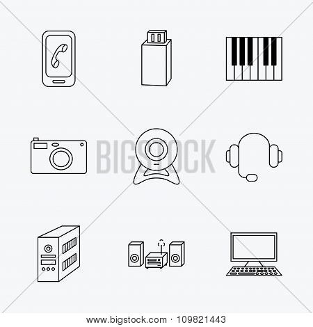 Photo camera, headphones and Usb flash icons.