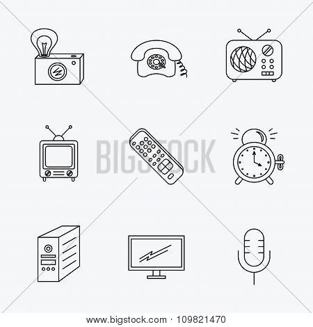 Retro camera, radio and phone call icons.