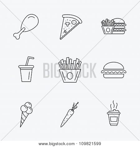 Vegetarian burger, pizza and soft drink icons.