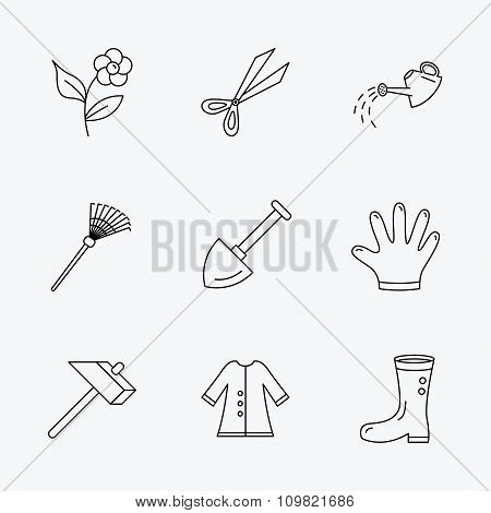 Scissors, hammer and gloves icons. Shovel signs.