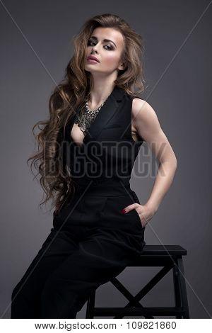 Elegant Lady In Studio.