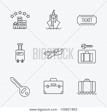 Hotel, cruise ship and airplane icons.
