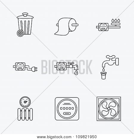 Ventilation, radiator and water counter icons.