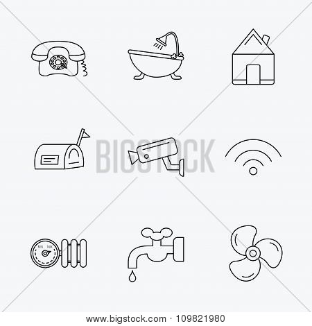 Wifi, vide camera and mailbox icons.