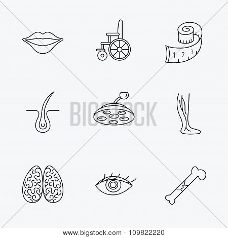 Eye, neurology brain and vein varicose icons.
