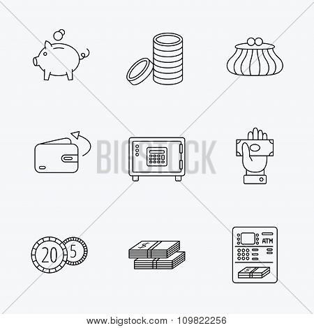 Piggy bank, cash money and wallet icons.
