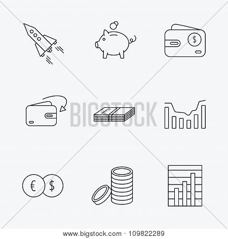 Piggy bank, cash money and startup rocket icons.