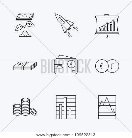 Profit investment, cash money and startup icons.