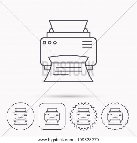 Printer icon. Print document technology sign.