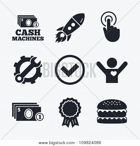 ATM cash machine withdrawal icons.