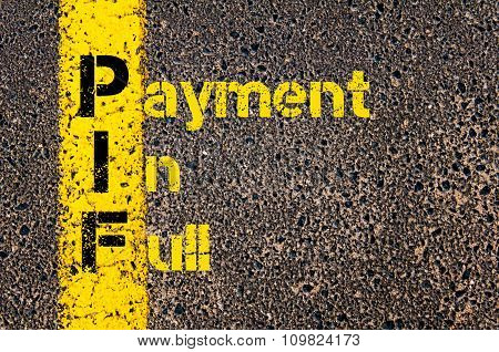 Accounting Business Acronym Pif Payment In Full
