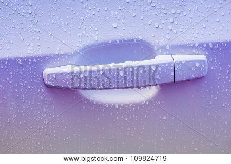 Door Car With Drops Of Rain