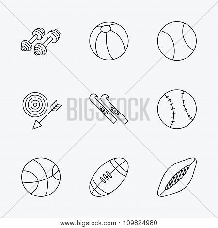 Sport fitness, tennis and basketball icons.