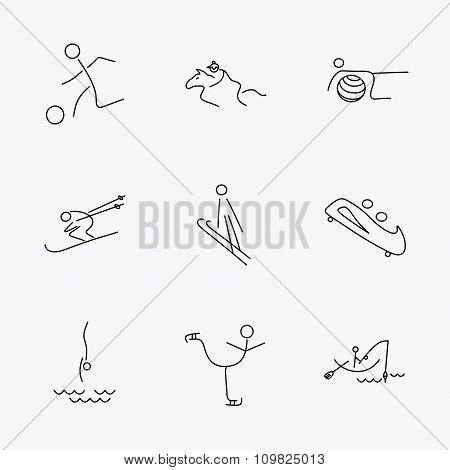 Pilates, football and skiing icons. Fishing.