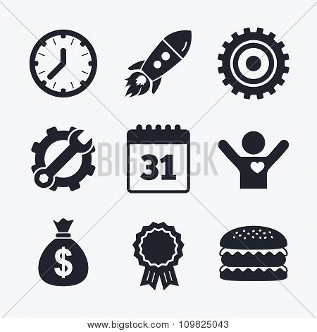 Business signs. Calendar and USD money bag icons