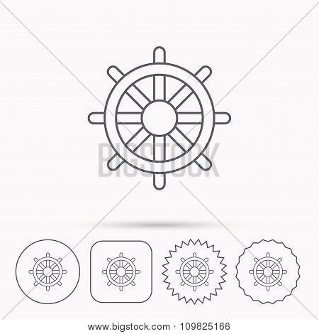 Ship steering wheel icon. Captain rudder sign.