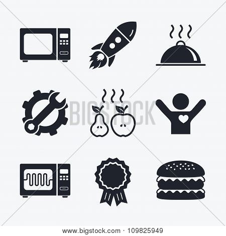 Microwave oven icon. Cooking food serving.
