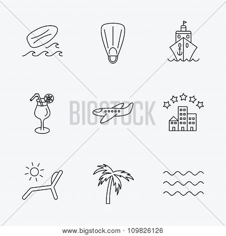 Cruise, waves and cocktail icons. Hotel sign.