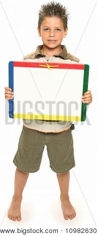 Happy Boy With Whiteboard
