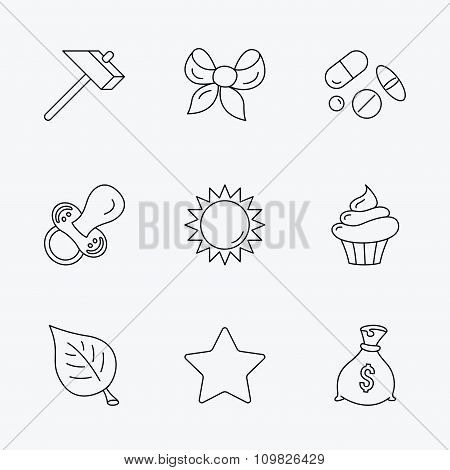 Money bag, star and bow icons. Leaf, pacifier.