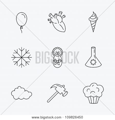 Newborn, heart and lab bulb icons. Ice cream.