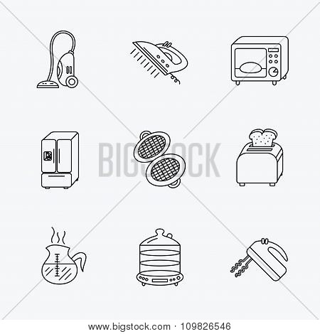 Microwave oven, coffee and blender icons.