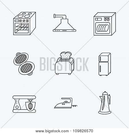Dishwasher, refrigerator and blender icons.