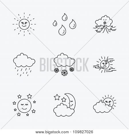 Weather, sun and rain icons. Moon night.