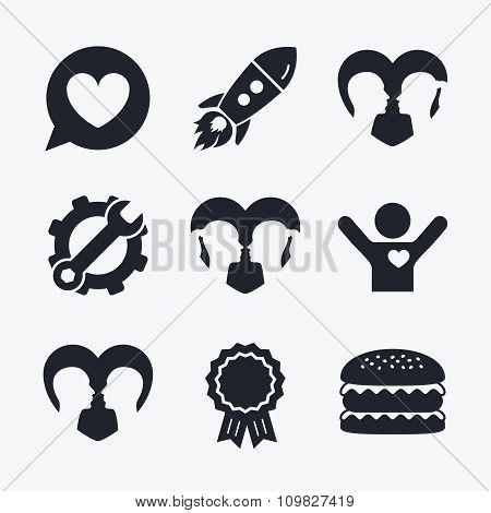 Couple love icon. Lesbian and Gay lovers signs.