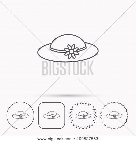 Female hat with flower icon. Women headdress.