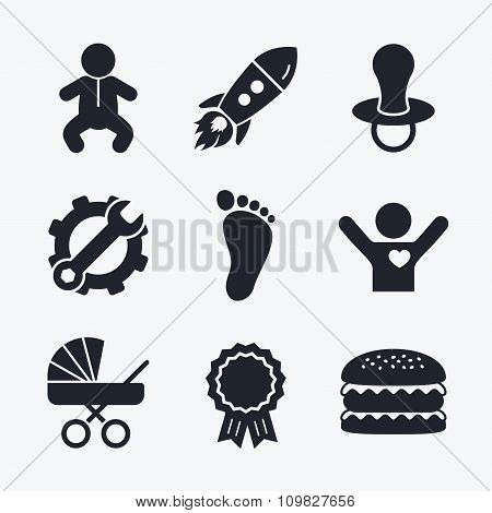 Baby infants icons. Buggy and dummy symbols.