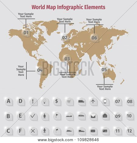 World Map Infographic Elements