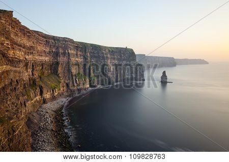 View at the Cliffs of Moher during the sunset.