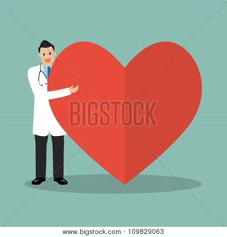 Doctor Presenting The Big Heart