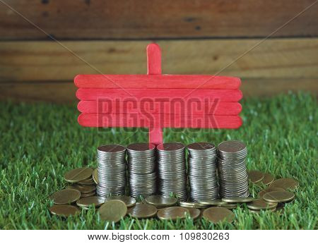 Financial Concept. Coin Laying On The Grass With Label