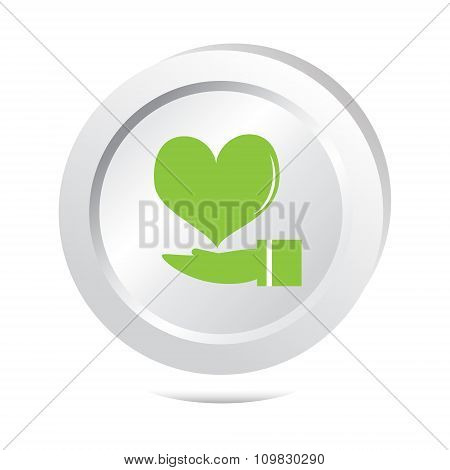 Heart In Hand Icon Button Icon