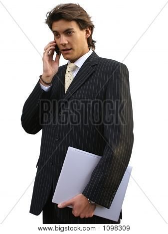 Man With Laptop And Mobile Phone