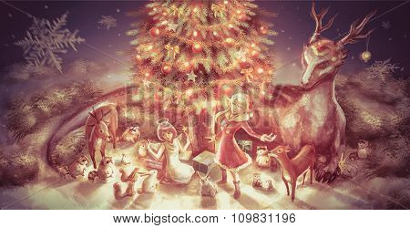 Illustration Of Fantasy Cartoon Girl Character And Animals Such As Dragon Reindeer Doe Raccoon Squir
