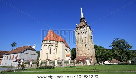 Saschiz Fortified Church In Transylvania, Romania.
