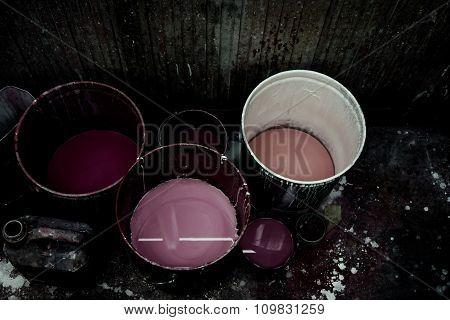 Old Acrylic Paint Bucket