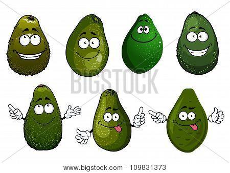 Funny green avocado fruits cartoon