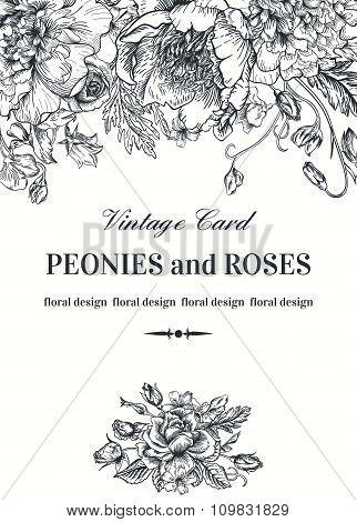 Vintage Floral Card.