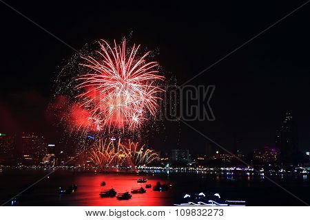 fireworks at the sea