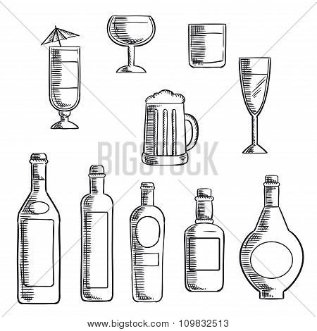 Bottles and glasses of alcohol beverages sketch