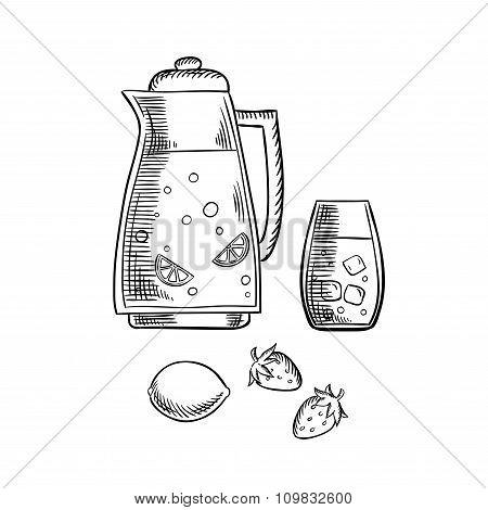 Strawberry  and lemon juice with fresh fruits