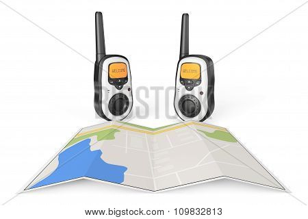 Two Walkie Talkie Radio With Map